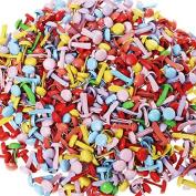 500 Pieces Mini Brads, Colour Scissor Round Brads Pastel Brads Fasteners For Scrapbooking Crafts DIY Paper, Colour Assorted