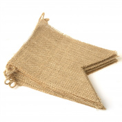 15 Pcs Jute Dovetail Flag Banner - 13cm x 18cm - Christmas / Wedding / Party / Festive Decoration Jute Triangle Flag