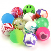 Biging 12 Pieces Mixed Colour Jet Bouncy Balls 25mm Party Bag Filler for Children