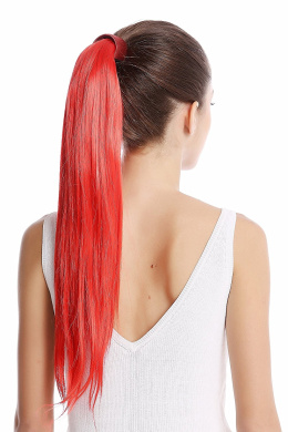 WIG ME UP ® - Srosy-C13 Hairpiece PONYTAIL with comb and snapwrap long straight bright fiery red 50cm