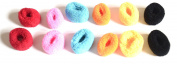 Girls and Teenagers pack of 12 cute and colourful mini terry scrunchie hair ties (cool and colourful) , Trendy Fashionable Terry Hair Scrunchies