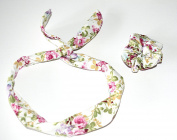 Love Flowers Rockabilly Wire Bunny Rabbit Ears Headband With Matching Cotton Canvas Scrunchie