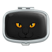 Black Cat Face Pet Kitty Rectangle Pill Case Trinket Gift Box