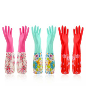 Cindy & Will 3Pairs Reusable Elastic Cuff Extra Long Sleeves Latex Gloves, 50cm , Large Size