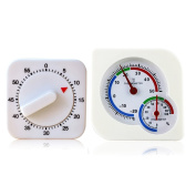Set of 2 60-munute Kitchen Square Swing Reminder 60 Minutes Mechanical Timer and Thermo-hygrometer