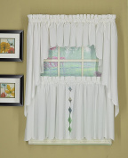 Today's Curtain Orleans Tier Pair with Tiebacks Tambour Scallop Edge, White, 150cm W X 80cm L/Tb