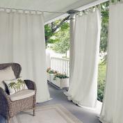 Elrene Home Fashions 26865643077 Indoor/Outdoor Solid Tab Top Single Panel Window Curtain Drape, White, 130cm x 210cm