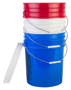 Hudson Exchange Premium 90 Mil HDPE Bucket with Handle and Lid, 18.9l Red/White/Blue, 3 Pack