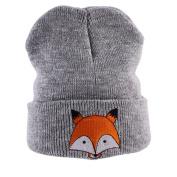 ZHOUBA Winter Warm Newborn Kids Toddlers Baby Girls Boys Fox Pattern Knitted Hat Beanie Cap - Grey