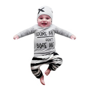 Weant Baby Girl Boy Clothes New Born Outfits Set Clothes Long Sleeve Letter Print Tops+Pant+Cap