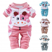 Weant New Born Baby Girl Boy Clothes Cartoon Cow Warm Outfits Clothes Velvet Hooded