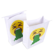 25-Pack Vomit Bags - Emoji Print- Disposable Self-Sealing Throw Up Bags for Motion Sickness, Morning Sickness, Multicoloured, 6 x 23cm x 7.1cm