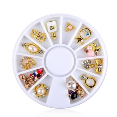 Nail Art,Putars Fashion 3D Nail Art DIY Gold Flower Ring Decoration Alloy Pearl Jewellery + Wheel