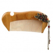Molshine No Static Handmade Carved Natural Green Sandalwood Portable Wood Comb