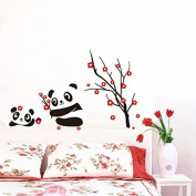 Phantomx Cartoon Panda red flower branch kids room decor PVC Wall sticker wall decals