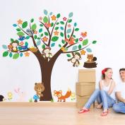Phantomx Forest Animals Monkey Flower Tree wall sticker kids room decor home decal