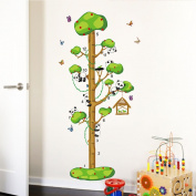 Phantomx Panda Tree Height Chart Measure cartoon Kids room decals Wall sticker mural