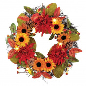Coerni Thanksgiving Day Decorative Fall Garland Berry Maple Leaf Wreath - 3 Pattern