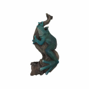Comfy Hour 25cm Frog Climbing On Wood Statue Wall Plaque - For Indoor And Outdoor, Stone Resin Sculpture, Green & Brown