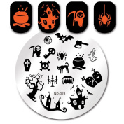 NICOLE DIARY 1Pc Round Stamping Template Halloween Ghost Spider Haunted House Image Cute Pattern Nail Art Plate ND-028