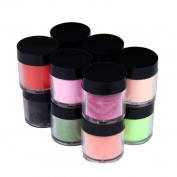 Binmer(TM) 12 Colours Acrylic Nail Art Tips UV Gel Powder Dust Design Decoration 3D DIY Decoration Set