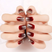 24pcs Artificial Tips False Nail Simply Beauty Red with Silver Glitter Fake Nails Tips Z110