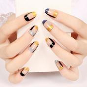24pcs Artificial Tips False Fake Nail Simply Beauty Classic Grid Black Blue Glitter Golden Z103