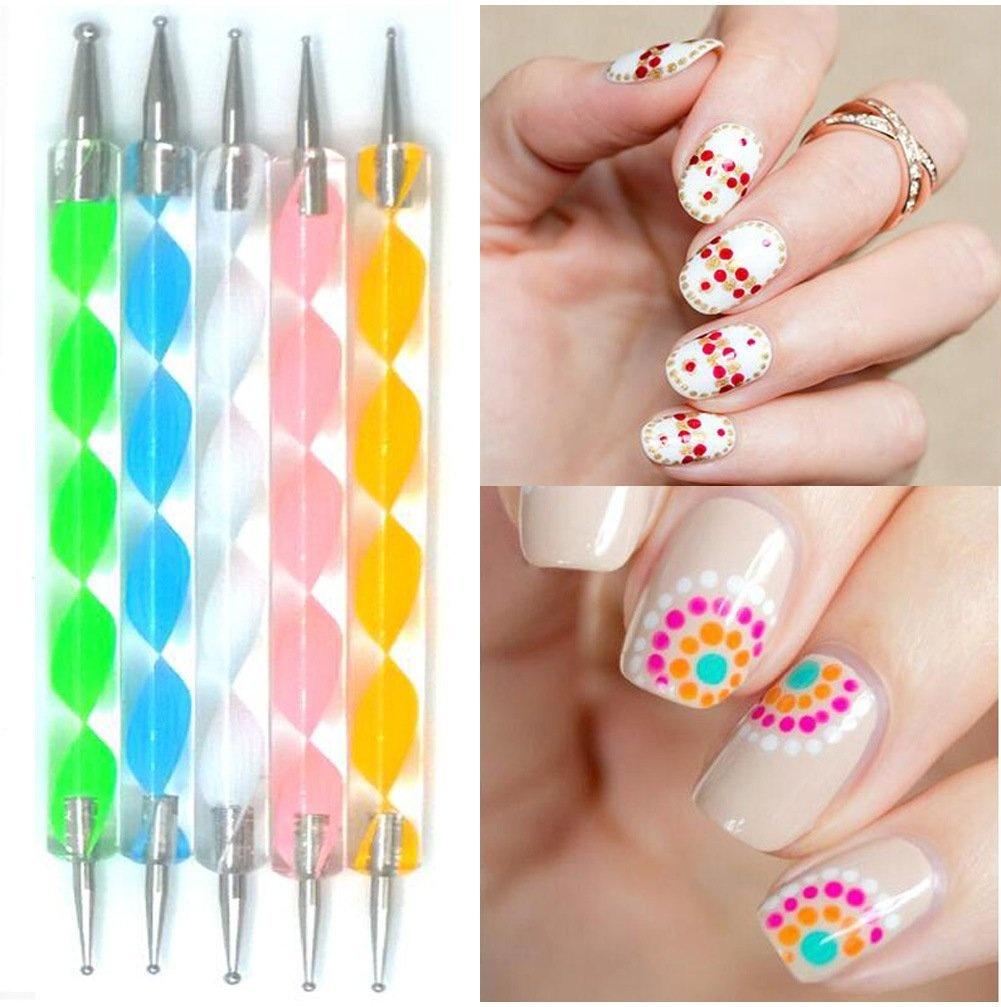 Mr.S Shop 5Pcs 2- Way Dotting Pen Marbleizing Tool Nail Art Dotting ...