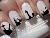 Nail Decals x 20 nail art set waterslide nail decals - Halloween Nail stickers graveyard gothic nail art design set N169