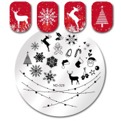 NICOLE DIARY 1Pc Round Stamping Template Christmas Tree Snowflake Deer Image Cute Pattern Nail Art Plate ND-029