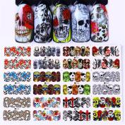 NICOLE DIARY 12 Patterns Water Decal Halloween Skull Flower Manicure Nail Art Transfer Sticker DIY Decoration