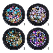 BONNIESTORE 4 Boxes Nail Sequins Colourful Mermaid Gradient Pearl Mixed Size Beads Rhinestone Leaf Metal Frame Unique Design Glitter Manicure 3D Nail Art DIY Decor