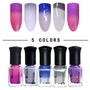 NICOLE DIARY 5 Bottles Thermal Colour Changing Nail Polish Peel Off Polish Manicure Nail Art Kit #2