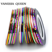 Vanessa Queen 30 Multicolor Mixed Colours Rolls Striping Tape Line Nail Art Decoration Sticker DIY Nail Tips