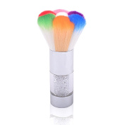ThinkMax Dust Remover Crystal Rhinestone Handle Rainbow Hair Nail Art Brush Glitter Powder Sequins Cleaning Beauty Tool