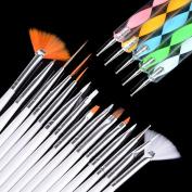 Dtemple 20pcs Nail Art Set, Nail Beauty Tools Polish Brushes & Dotting Painting Pen,