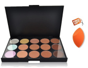 Colour Correcting Makeup Concealer Palette:Flawless Contouring Kit 15 Colours Cream Foundation and Camouflage Concealer Makeup Palette, with Free Foundation Puff Sponge