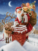 5D DIY Diamond Painting kit Rhinestone Embroidery Cross Stitch Full Drill Arts Craft for Christmas Home Wall Decor, Santa Claus with Gifts
