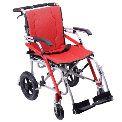 """Hi-Fortune Lightweight Transport Medical Wheelchair with Adjustable Armrests and Hand Brakes, Portable and Folding with Magnesium Alloy, 18"""" Seat, Red, 9.5kg"""