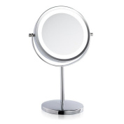 Cosmetics Mirror Home Beauty Mirror LED Lights 3 Times the Enlarged Desktop Metal , diameter 15.5*29.5hcm