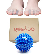 Rosado Life Toe Separators Gel Stretchers with Blue Yoga Massage Ball for Foot Pain Relief, Wear In Shoes