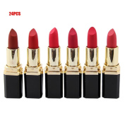 LOUSHI Beauty Lipstick.24PCS Moisturiser Smooth Lips Stick Long Lasting Charming Lip Lipstick
