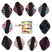 10 Pieces 30cm Charcoal Bamboo Reusable Cloth Mama Menstrual Pad Heavy+1 Wet Bag