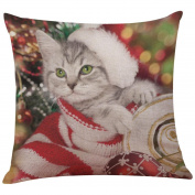 Christmas Cartoon Cat Pillow Cases ,YOYOUG New Christmas Cotton Linen Pillow Case Sofa Cushion Cover Home Decor