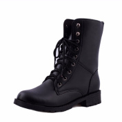 Fashion Women Men Boots , YOYOUG Women Men Lace Up Flat Biker Military Army Combat Black Boots Shoes