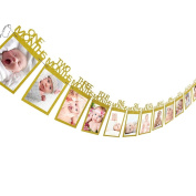 Culater® New Baby Kids 1st Birthday Gift 1-12 Months Photo Banner DIY Wall Hanging Picture Album Gold