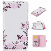 KKEIKO® iPod Touch 5th / 6th Generation Case [Free Tempered Glass Screen Protector], Premium Flip Leather Case for Apple iPod Touch 5th / 6th Generation, iPod Touch 5th / 6th Generation Wallet Cover Case with Card Slots, Magnetic Closure and Stand (Flo ..