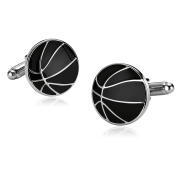 Bishilin Stainless Steel Cuff Links for Mens Round Basketball Lines Silver Black Shirt Business