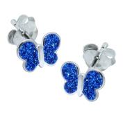 Blue Glitter Butterfly Earrings - Sterling Silver