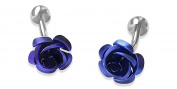 Blue Rose Cufflinks with Alfred & Co. Cufflinks Box